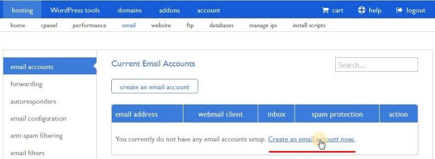wordpress email manager.create account now