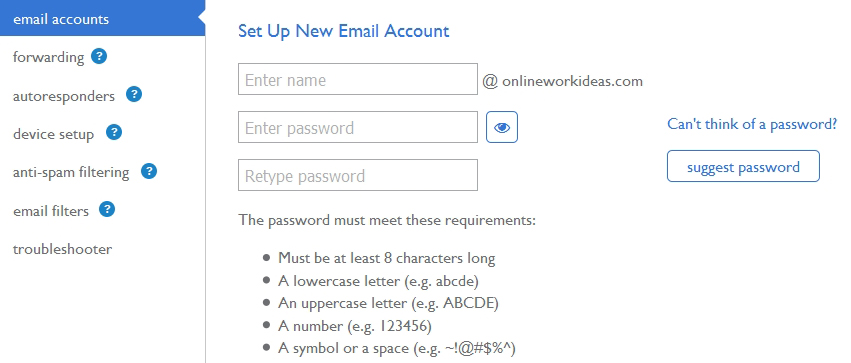 wordpress email manager.create emaill password
