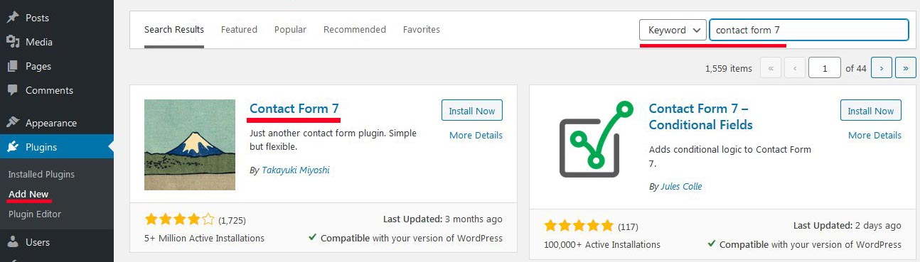 how to install contact form 7 wordpress plugin