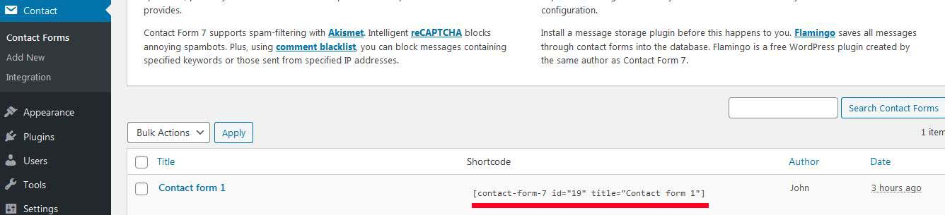 shortcode copy paste in page post contact form 7
