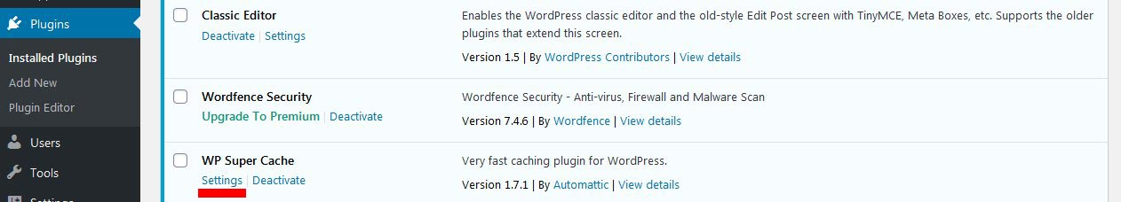 wp super cache wordpress plugin how to settings