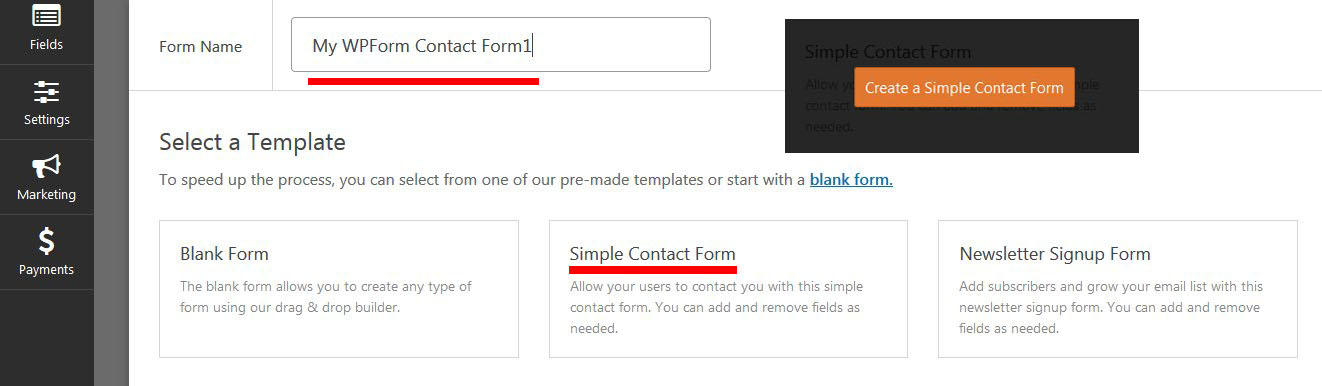 how to create simple contact form wpforms