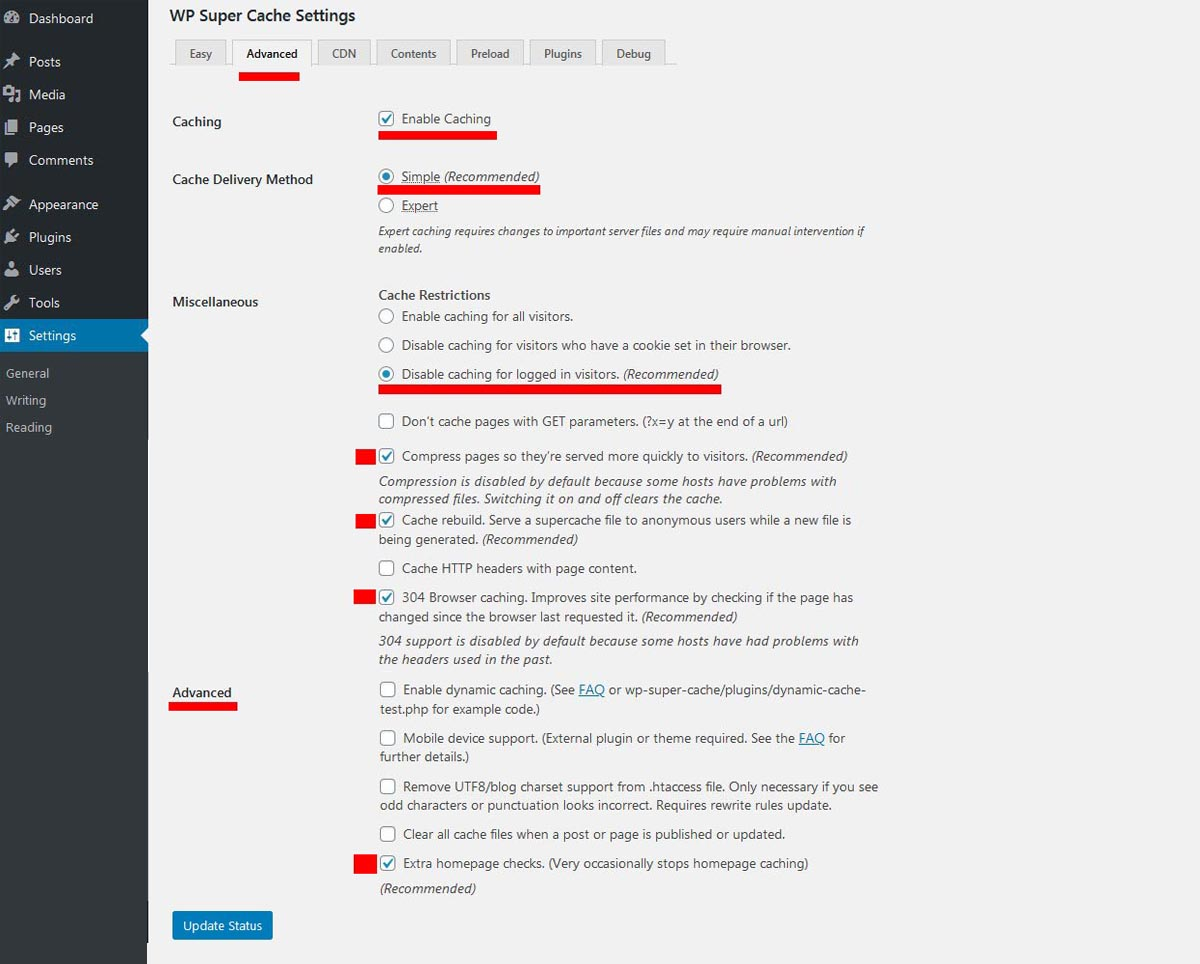 wp super cache wordpress plugin advanced settings