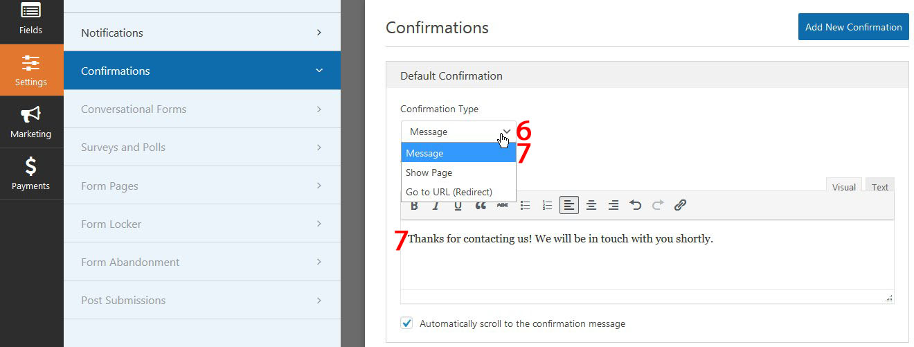 how to edit confirmationmessage contact form wpforms