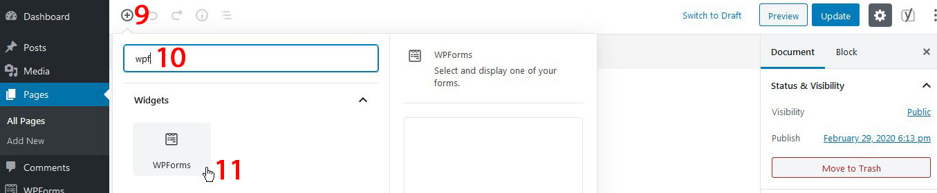 how to create page with contact form wpforms